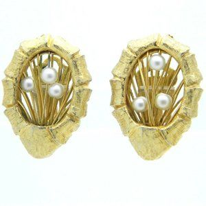 Ornate Gold Tone Faux Pearl Wire Clip Earrings